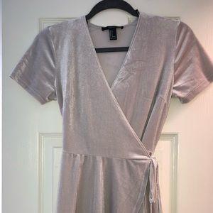 Silver Velvet Forever 21 Wrap Dress